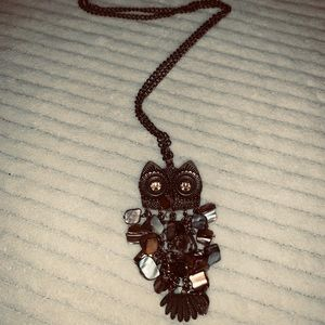 Jewelry - 2/$15 antique gold color necklace stone owl